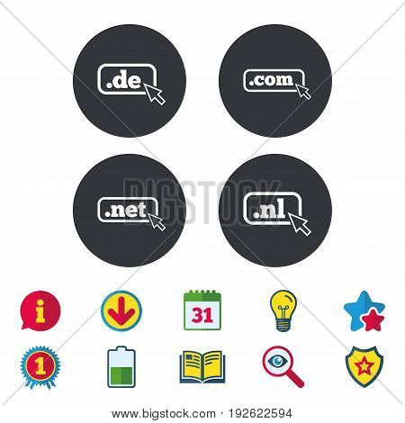 Top-level internet domain icons. De, Com, Net and Nl symbols with cursor pointer. Unique national DNS names. Calendar, Information and Download signs. Stars, Award and Book icons. Vector