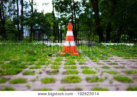 Parking cone in green park zone background hd