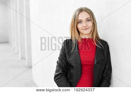 Horizontal Portrait Of Beautiful Fashionable Teenage Girl With Fair Hair, Freckled Face Dressed In T
