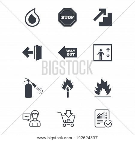 Fire safety, emergency icons. Fire extinguisher, exit and stop signs. Elevator, water drop and match symbols. Customer service, Shopping cart and Report line signs. Online shopping and Statistics