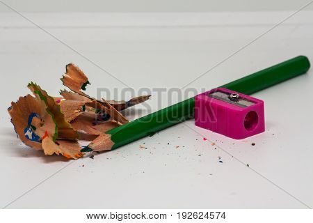 Stationery background - Group of stationery tools on white background