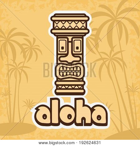 Vector illustration of tiki mask palm trees and text Aloha