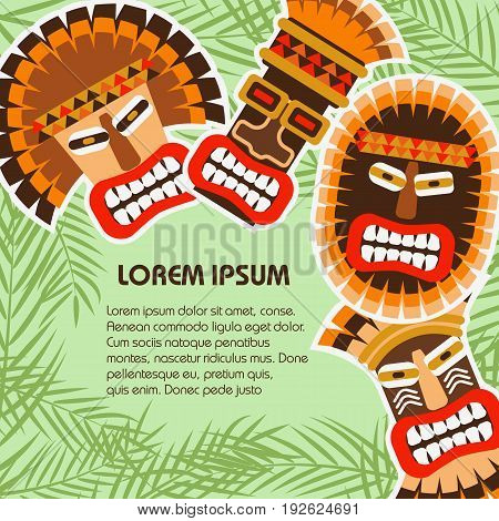 Flat background with colorful african ethnic tribal masks of different shape on the palm leaves. Vector illustration