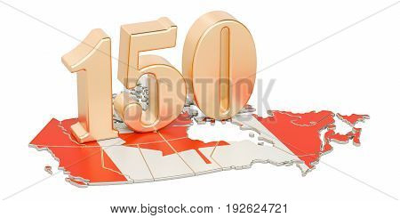 Canada Day 150 years anniversary concept. 3D rendering