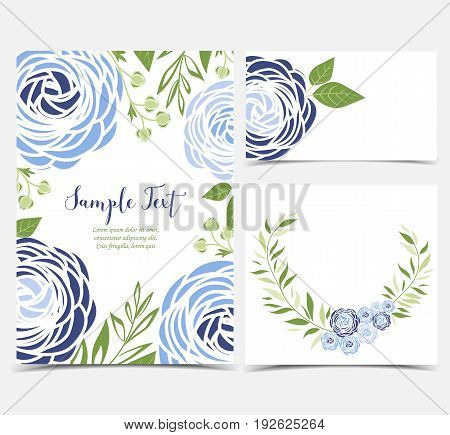 Vector illustration of ranunculus flower. Backgrounds with blue flowers. Set of greeting cards