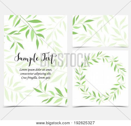 Vector illustration of decoration branches witt leaves. Set of greeting cards