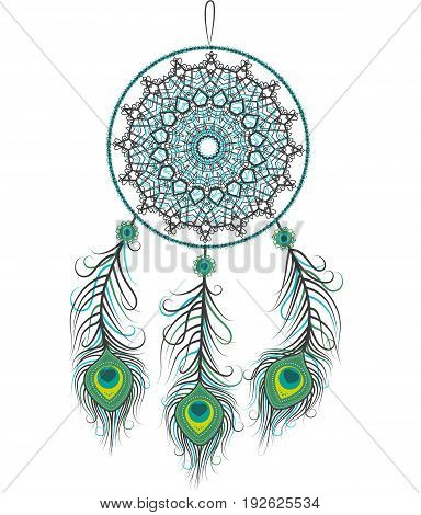 Vector illustration of a dreamcatcher with a peacock feathers on a white background
