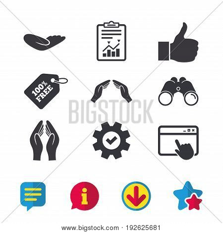 Hand icons. Like thumb up symbol. Insurance protection sign. Human helping donation hand. Prayer hands. Browser window, Report and Service signs. Binoculars, Information and Download icons. Vector