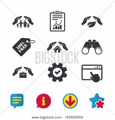 Hands insurance icons. Human life insurance symbols. Nature leaf protection symbol. House property insurance sign. Browser window, Report and Service signs. Binoculars, Information and Download icons