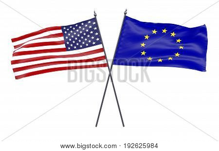USA and European Union, two crossed flags isolated on white background. 3d image