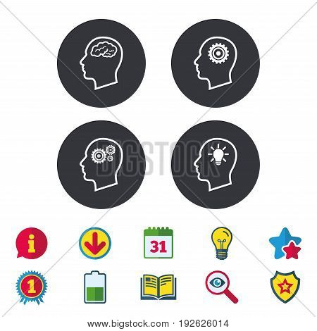 Head with brain and idea lamp bulb icons. Male human think symbols. Cogwheel gears signs. Calendar, Information and Download signs. Stars, Award and Book icons. Light bulb, Shield and Search. Vector