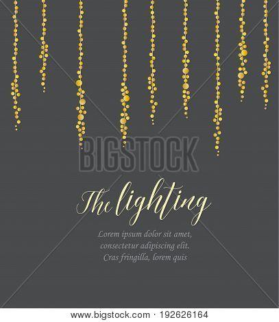 Vector illustration of light cords on a dark background. String Lights