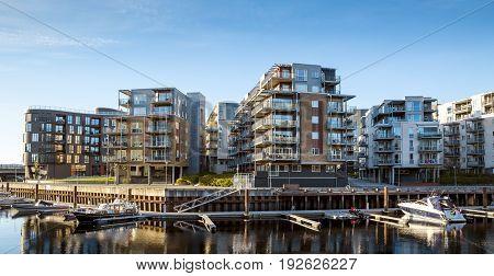 Modern architecture in Trondheim town in Norway