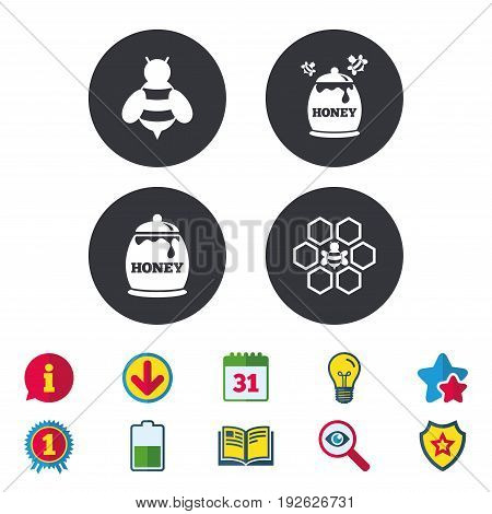 Honey icon. Honeycomb cells with bees symbol. Sweet natural food signs. Calendar, Information and Download signs. Stars, Award and Book icons. Light bulb, Shield and Search. Vector