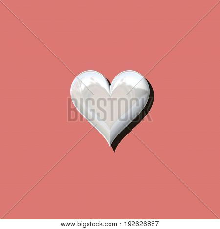 3d heart with shadow on old pink background