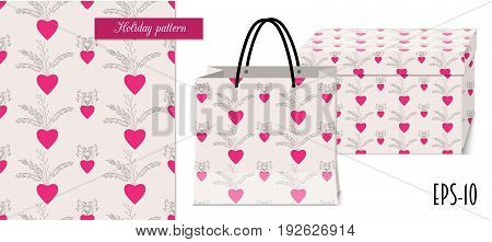 Seamless romantic pattern with hand drawn ornamental hearts for valentine pack paper packing gift fabric clothes. Mock-up paper bag and gift box. eps 10.