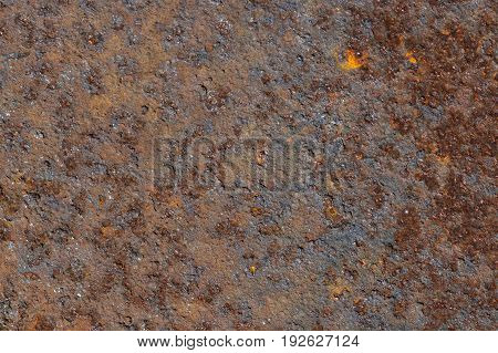 Rusted sheet metal background texture.Brown surface color