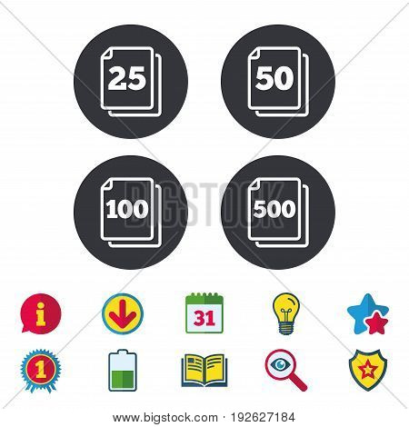 In pack sheets icons. Quantity per package symbols. 25, 50, 100 and 500 paper units in the pack signs. Calendar, Information and Download signs. Stars, Award and Book icons. Vector
