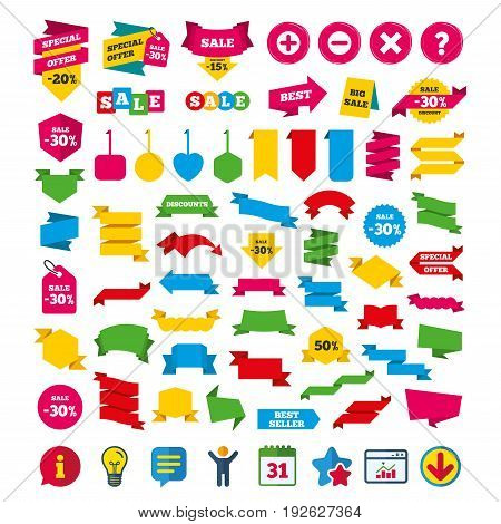 Plus and minus icons. Delete and question FAQ mark signs. Enlarge zoom symbol. Shopping tags, banners and coupons signs. Calendar, Information and Download icons. Stars, Statistics and Chat. Vector