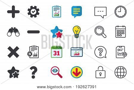 Plus and minus icons. Delete and question FAQ mark signs. Enlarge zoom symbol. Chat, Report and Calendar signs. Stars, Statistics and Download icons. Question, Clock and Globe. Vector