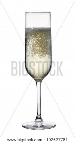 Glass of white champagne wine isolated on white background