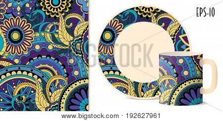 Hand drawn colorful pattern with flowers and mandalas in zen style for decorate kitchenware cup dishes porcelain stationery. Mock-up cup and saucer. eps 10.