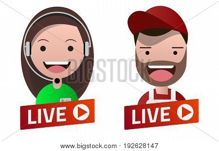 Red gradient Live Stream sign with Carpenter and Operator avatar set. Emblem logo badge. Flat design. Template for citybanner website design cover. White background. Illustration. Eps10.