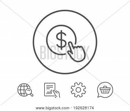Hand Click line icon. Currency exchange sign. Cursor pointer symbol. To pay or get money. Hold Report, Service and Global search line signs. Shopping cart icon. Editable stroke. Vector