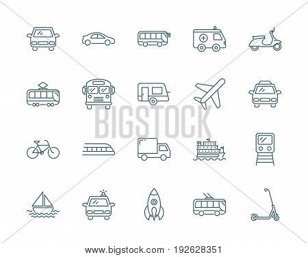 Transport vector icons set simple linear style