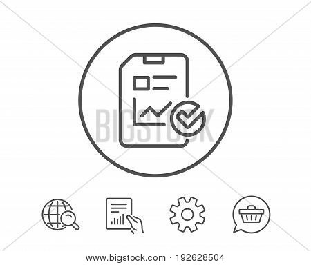 Report document line icon. Analysis Chart or Sales growth report sign. Statistics data or Checklist symbol. Hold Report, Service and Global search line signs. Shopping cart icon. Editable stroke