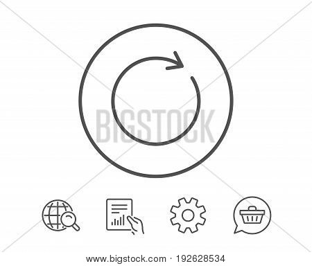 Refresh line icon. Rotation arrow sign. Reset or Reload symbol. Hold Report, Service and Global search line signs. Shopping cart icon. Editable stroke. Vector