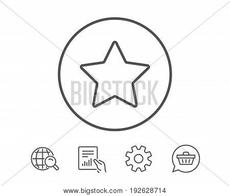 Star line icon. Best rank sign. Bookmark or Favorite symbol. Hold Report, Service and Global search line signs. Shopping cart icon. Editable stroke. Vector