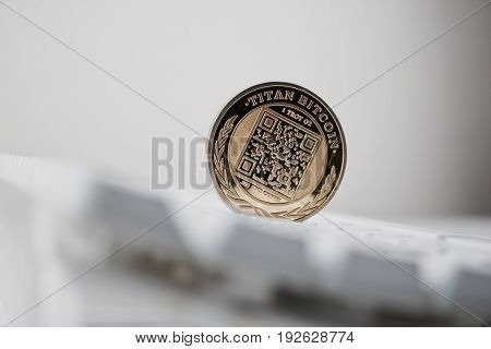 Digital currency physical gold titan bitcoin with QR Code. poster
