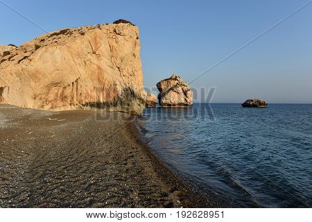 Aphrodite's Rock In Late Afternoon Lights. Petra Tou Roumiu, Cyprus