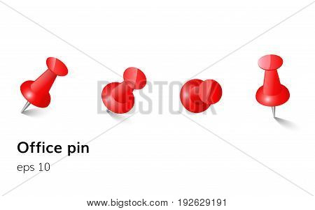 Red push office pin set vector realistic office attach button