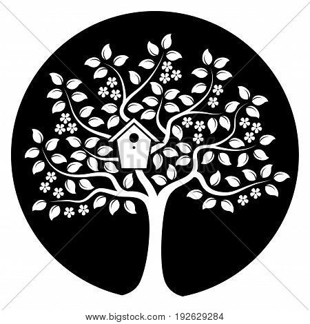 vector flowering tree with nesting bird box isolated on black round