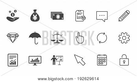 Money, cash and finance icons. Money savings, justice scales and report signs. Presentation, analysis and umbrella symbols. Chat, Report and Calendar line signs. Service, Pencil and Locker icons