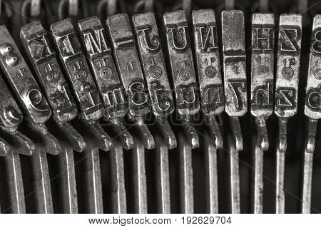 The vintage typewriter letters close up image