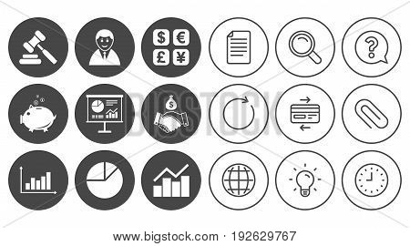 Money, cash and finance icons. Handshake, piggy bank and currency exchange signs. Chart, auction and businessman symbols. Document, Globe and Clock line signs. Lamp, Magnifier and Paper clip icons