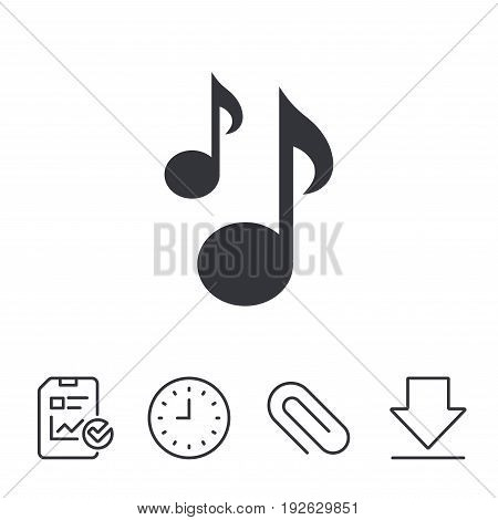 Music notes sign icon. Musical symbol. Report, Time and Download line signs. Paper Clip linear icon. Vector
