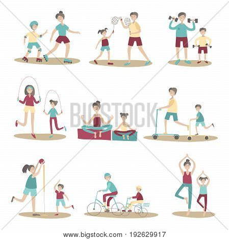 Parents and children together doing sport and active recreation outdoors. Vector illustration set, isolated on white background.