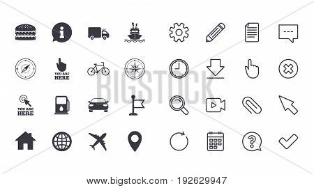 Set of Navigation and Gps icons. Windrose, Compass and Burger signs. Bicycle, Ship and Car symbols. Location pointer and flag. Calendar, Document and Download line signs. Vector