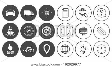 Navigation, gps icons. Windrose, compass and map pointer signs. Bicycle, ship and car symbols. Document, Globe and Clock line signs. Lamp, Magnifier and Paper clip icons. Vector