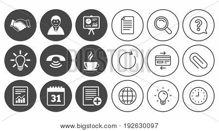 Office, documents and business icons. Businessman, handshake and call signs. Chart, presentation and calendar symbols. Document, Globe and Clock line signs. Lamp, Magnifier and Paper clip icons