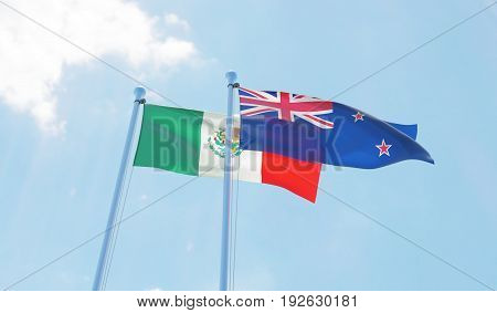 New Zealand and Mexico, two flags waving against blue sky. 3d image