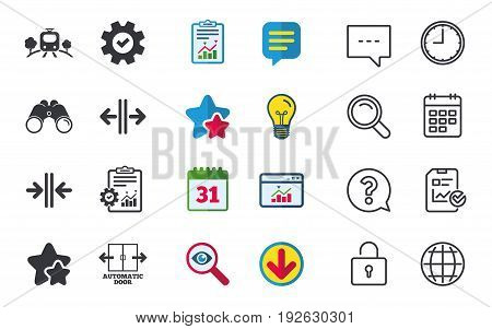 Train railway icon. Overground transport. Automatic door symbol. Way out arrow sign. Chat, Report and Calendar signs. Stars, Statistics and Download icons. Question, Clock and Globe. Vector