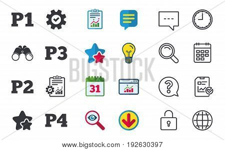Car parking icons. First, second, third and four floor signs. P1, P2, P3 and P4 symbols. Chat, Report and Calendar signs. Stars, Statistics and Download icons. Question, Clock and Globe. Vector