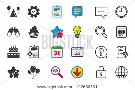 Birthday party icons. Cake, balloon, hat and muffin signs. Celebration symbol. Cupcake sweet food. Chat, Report and Calendar signs. Stars, Statistics and Download icons. Question, Clock and Globe