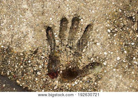 human palm print on a concrete slab