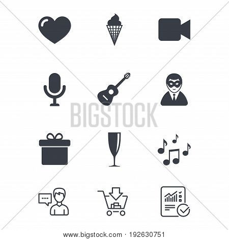 Party celebration, birthday icons. Carnival, guitar and champagne glass signs. Gift box, ice cream and love symbols. Customer service, Shopping cart and Report line signs. Vector